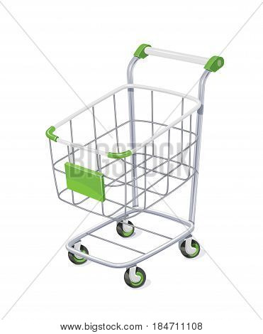 Supermarket cart with basket for shopping. Shop equipment delivery purchase products. isolated white background. Eps10 vector illustration.