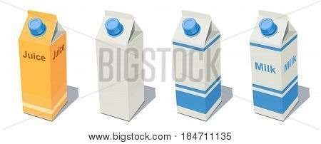 Milk Pack and Juice. Fruit beverage bottle. Milky product. Healthy food drink paper box. Blank Container for organic meal products. isolated white background. Eps10 vector illustration.