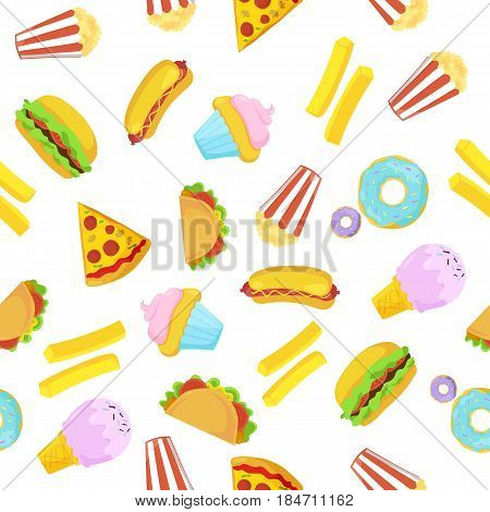 Fast food seamless pattern on white background. Vector illustration for bright colorful bistro design. American cafe menu backdrop. Cartoon delicious meal pattern. Cute food icons set with dessert