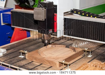 Wooden processing industry, graving machine close up view