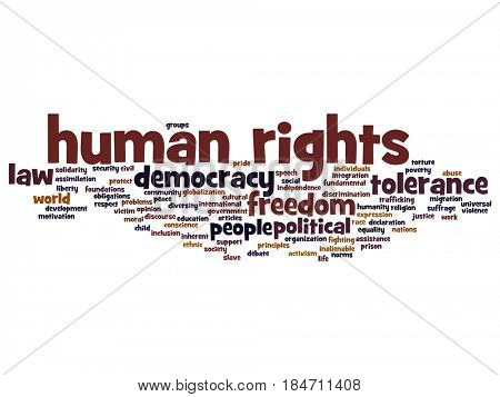 Concept or conceptual human rights political freedom or democracy abstract word cloud isolated on background, metaphor to humanity world tolerance, law principles, people justice discrimination