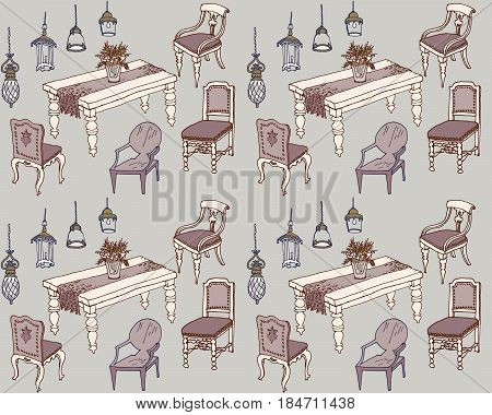dining room furniture classic sketch seamless pattern style country dinning room