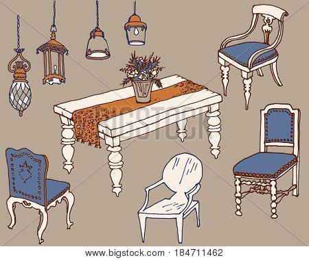 dining room furniture classic sketch set doodle futniture for dinner style Provsnce, table, chairs and lamps, country style vector