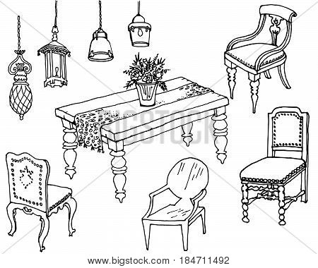 dining room furniture classic sketchset doodle futniture for dinner style Provsnce, table, chairs and lamps, country style vector in color black and white background