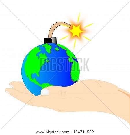 Planet bomb on palm of the person on white