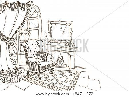 sketch of a classic  interior, curtains, fireplace, chair, floor lamp, carpet, mirror - visit card in vector one color in white background