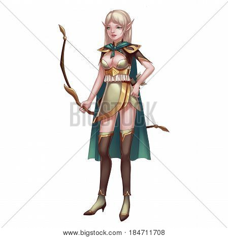 Cool Character: She Elf Archer isolated on White Background. Video Game's Digital CG Artwork, Concept Illustration, Realistic Cartoon Style Background and Character Design