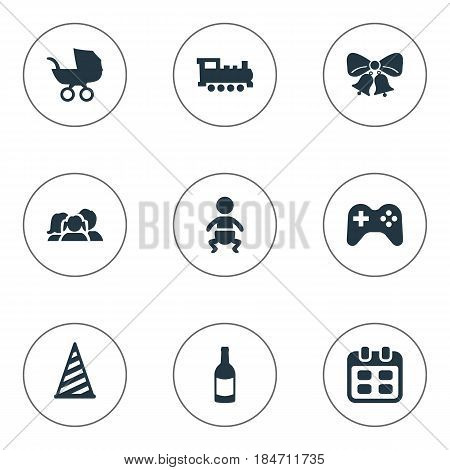 Vector Illustration Set Of Simple Birthday Icons. Elements Resonate, Train, Baby Carriage And Other Synonyms Fizz, Champagne And Cap.