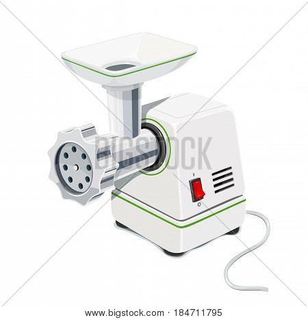 Electric Meat grinder. Kitchen equipment for grind. Mincer cooking meal. Pofessional cook instrument comfort working. isolated white background. Eps10 vector illustration.