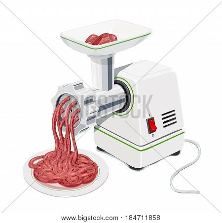 Electric Meat grinder with mincemeat Kitchen equipment for grind stuffing. Mincer cooking meal. Pofessional cook instrument comfort working. isolated white background. Eps10 vector illustration.