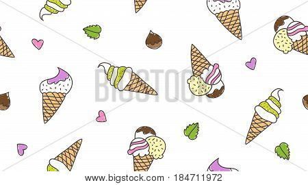 vector hand drawn ice cream cones, seamless pattern