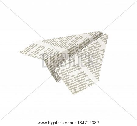 Paper origami airplane. Newspaper Handicraft. Papercraft Creative work. Plane fly. isolated white background. Eps10 vector illustration.