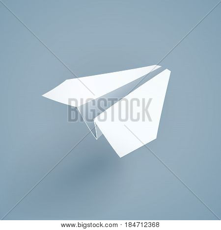 Paper origami airplane. Handicraft. Papercraft Creative work. Plane fly. Eps10 vector illustration.