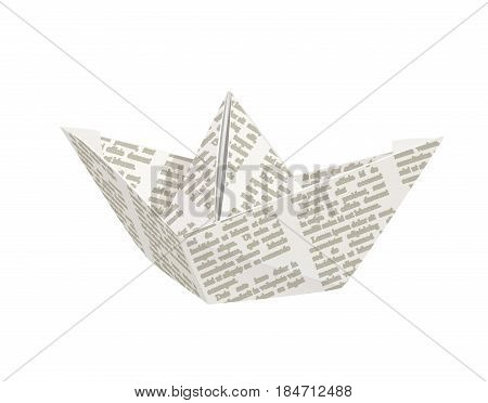 Paper origami ship. Handmade toy. isolated white background. Eps10 vector illustration.