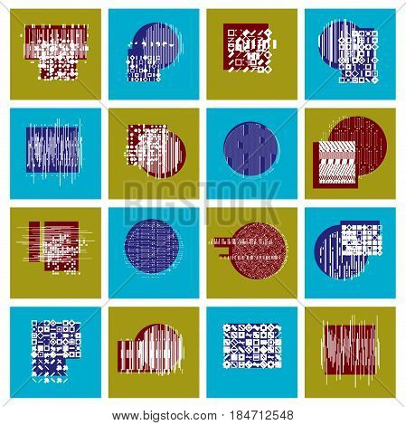 Vector geometric compositions set abstract graphic arts collection.