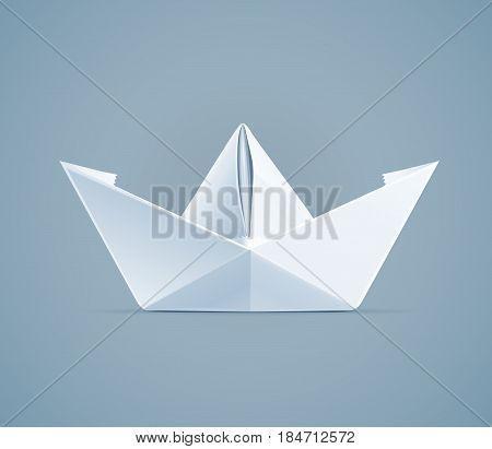 Paper origami ship. Handmade toy. Newspaper boat. Eps10 vector illustration.