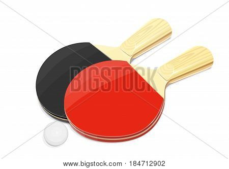Table tennis racket and ball. Ping-pong sport game. Sports equipment. isolated white background. Eps10 vector illustration.