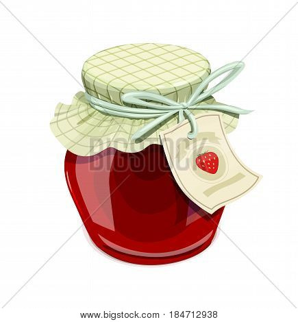 Strawberry jam jar. Vintage style. Delicious organic food. Glass capacity for berry meal with lid. isolated white background. Eps10 vector illustration.