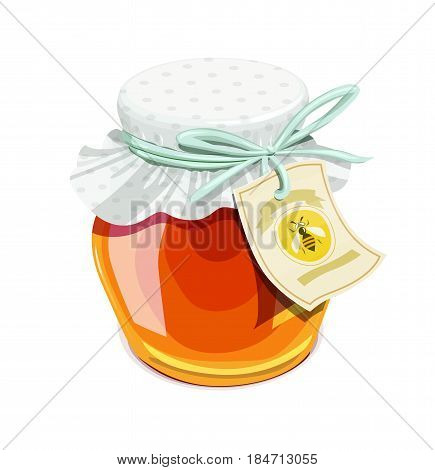 Honey jar. Vintage style. Delicious organic food. Glass capacity for bee meal with lid. isolated white background. Eps10 vector illustration.