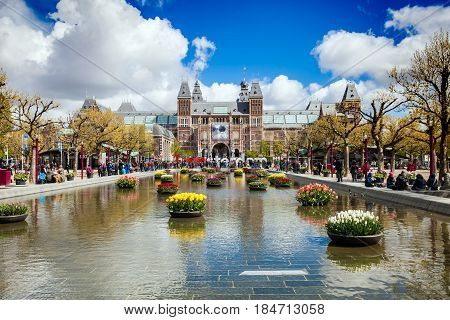 Amsterdam, Netherlands - April, 2017: Famous view on letters I Amsterdam near Rijksmuseum in Amsterdam, Netherlands
