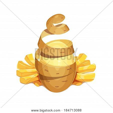 Potato vegetable and French friess. Fast-food snack for lunch. Delicious meal. Potatoes chips. Cooking. isolated white background. Eps10 vector illustration.