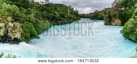 Panoramic scenery of The Huka falls are the largest fast and powerful waterfalls on the Waikato River located in Wairakei Park of Taupo North Island of New Zealand