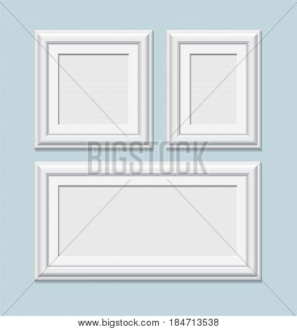 Set Of Square White Photo Frames, Vector