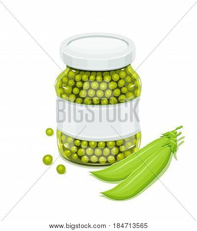 Glass jar with greeen peas and pods. Natural food for safekeeping. isolated white background. Vector illustration.