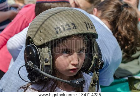 Unidentified Little Girl Wearing Protective Tank Helmet At Latrun Armored Corps Museum