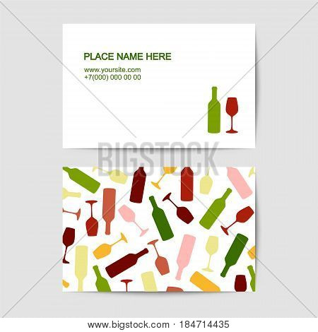 visit card template with wine glass and bottle for sommelier