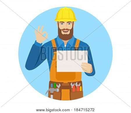 Worker holding a a paper and showing a okay hand sign. Portrait of worker character in a flat style. Vector illustration.