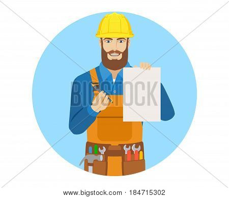 Worker holding a a paper and giving pen for your signature. Portrait of worker character in a flat style. Vector illustration.