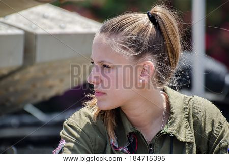 Unidentified Israeli Girl Soldier At Latrun Armored Corps Museum