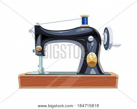 Vintage sewing machine with blue spool thread. Equipment for sew vogue clothes. Isolated white background.