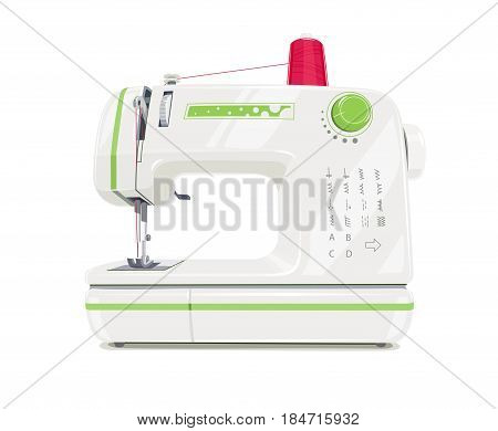 Modern sewing machine with red spool thread. Equipment for sew vogue clothes. Isolated white background.