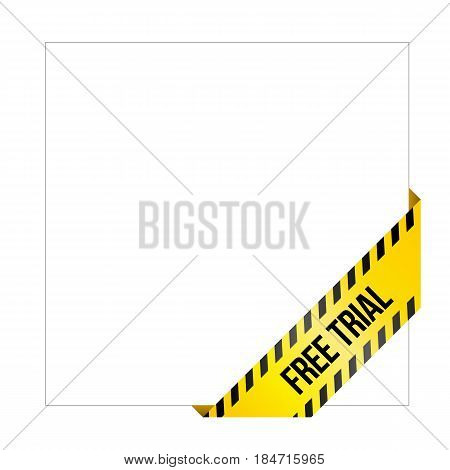 Yellow caution tape with words 'Free Trial'. Corner label painted like danger ribbon. Product tag for online shops, software developers. Isolated on white background.