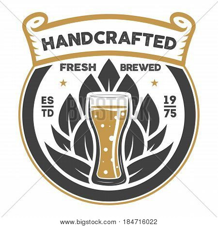 Handcrafted beer brewery retro isolated sign vector illustration. Traditional brewing company symbol, premium quality alcohol product, craft beer badge with mug.