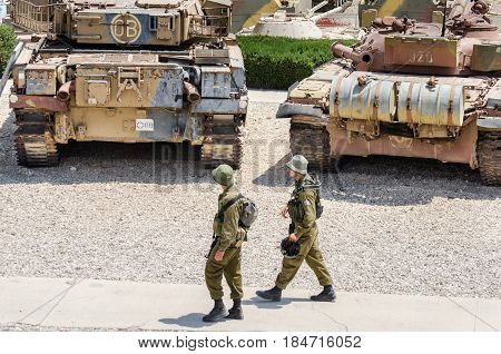 Two Soldiers Patrol At Latrun Armored Corps Museum