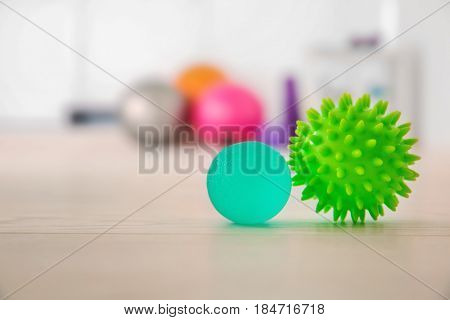 Stress balls on floor in clinic