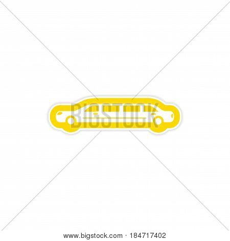 paper sticker on white background wedding limousine