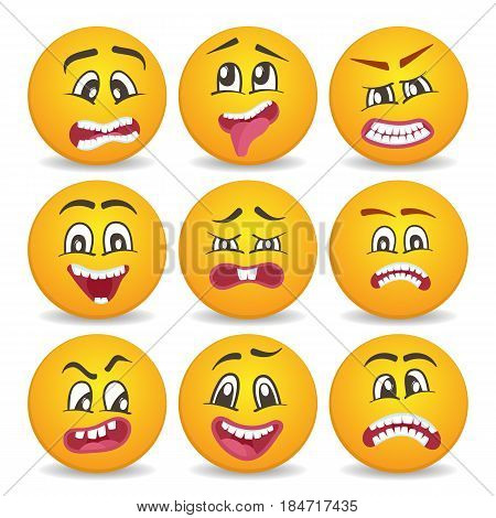 Emoticons or smileys isolated vector icons set for web. Cute smiley faces with different facial expressions. Happiness, anger, joy, fear, surprise smiley, fun comic yellow faces, emoji characters.
