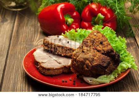 Roasted Pork Neck With Spices On Cutting Board