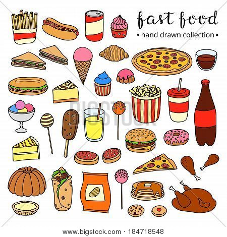 Collection of hand drawn fast food meals including pizza, burger, ice cream, cake, hot dog, chicken, burrito, popcorn, lemonade, chips, fries, sandwich, donut isolated on white background.