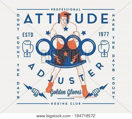Vector boxing sport concept of attitude adjuster