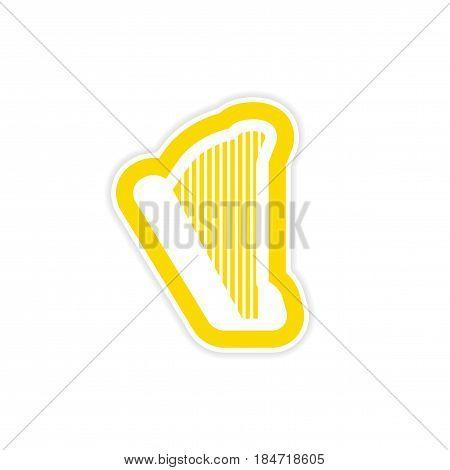 paper sticker on white background Greek harp