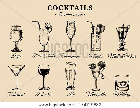 Cocktails and alcoholic beverages glasses hand drawn illustrations. Vector drinks sketches set, pina colada, margarita, red wine, mojito, vodkatini, champagne, beer, whiskey etc.