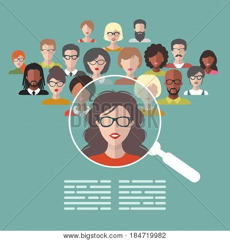 Vector concept of human resources management, professional staff research, head hunter job with magnifying glass