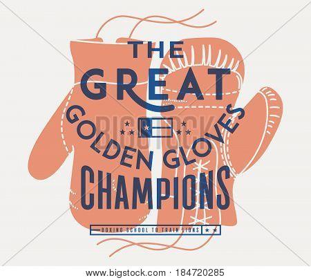 Vector boxing sport concept of golden gloves