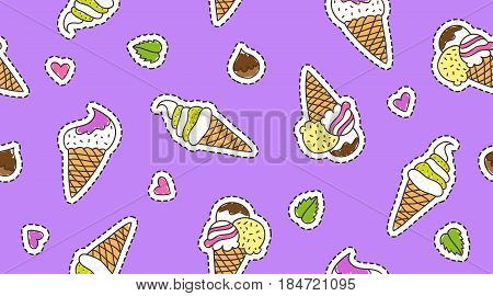 vector hand drawn ice cream cones, stickers on violet background, seamless pattern