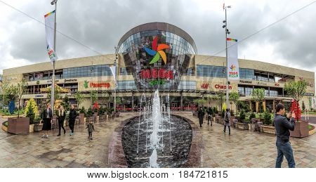 ALMATY KAZAKHSTAN - APRIL 30 2017: Shopping and entertainment center Mega Park in Almaty Kazakhstan. Opened in 2015 it is the largest department store in Almaty.